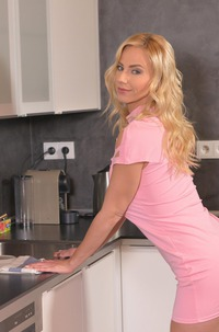 Mom Nathaly Cherie Toying In Kitchen