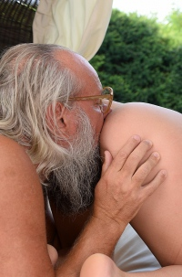 Lily Grey Licking Grandfather's Ass-hole