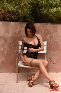 Gemma Massey In A Black Lacy Teddy
