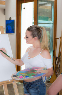 Aubrey Sinclair And Elena Koshka In Painting Her Pussy