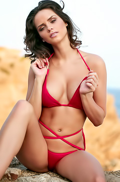 Adele Taylor Takes Off Red Sexy Mini Bikini