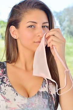 Nina smells her panties