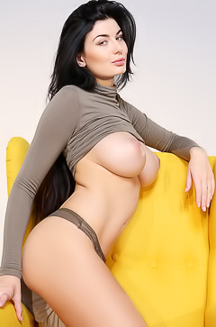 Glamour busty brunette Lucy
