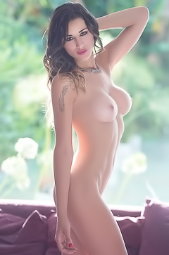 Topless model Vanessa Alvar