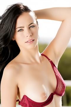 Beautiful Veronica in transparent red lingerie