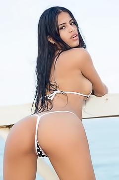 Denisse Gomez Stripping Micro Bikini