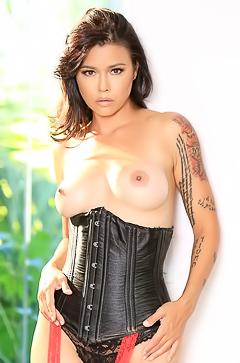 Perfect Dana Vespoli in leather corset