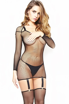 Sabine Jemeljanova hot fishnet suite