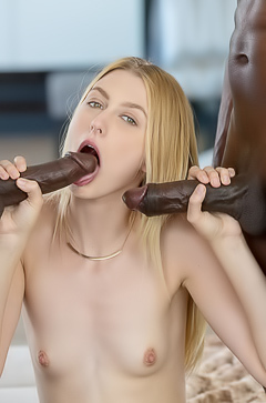 Alexa Grace is sucking two black dicks