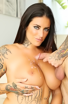 Tattooed Raquel Adan gets cum on boobs