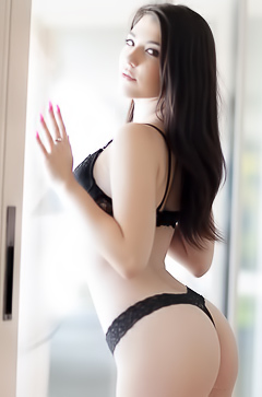 Sexy girl stripping black lingerie