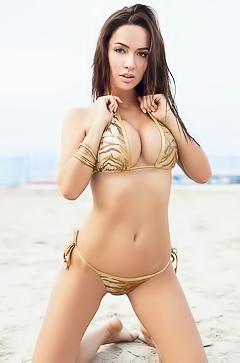 Adrienn Levai in gold bikini