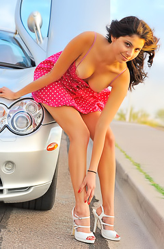 Brunette stripping by sport car