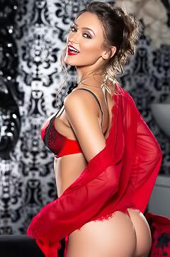 Deanna Greene in red lingerie