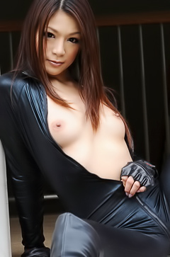 Asian girl in leather suit
