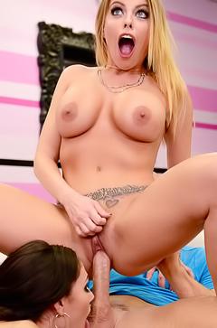 Hardcore fuck wih blonde and brunette