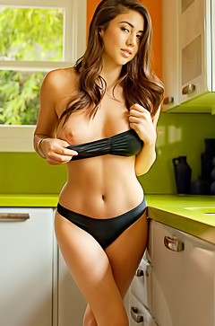 Chloe Moet stripping in kitchen