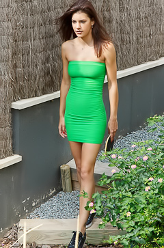 Candice Luka in green dress