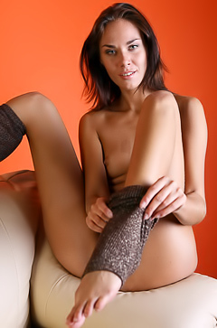 Young girl in sexy socks