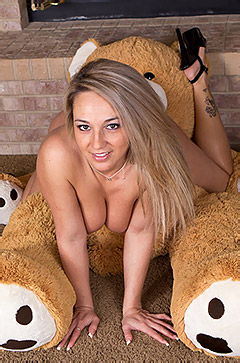 Nikki Sims With Her Teddy Bear