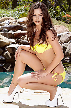 Amber Addison In Yellow Bikini