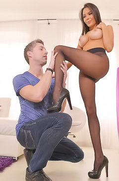 Sex with hot Jessica in pantyhose