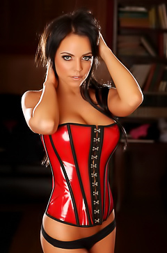 Glamour model in red corset