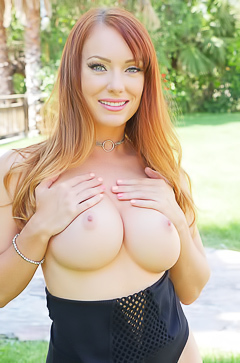 Dani Jensen showing boobs in public place