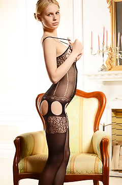 Sexy blonde in sexy stockings