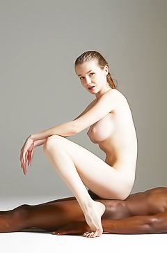 Lovely Emily Bloom in interracial art shoot