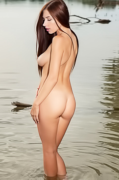 Busty Niemira - naked in the lake