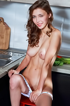 Teen Mila Azul showing pussy in kitchen