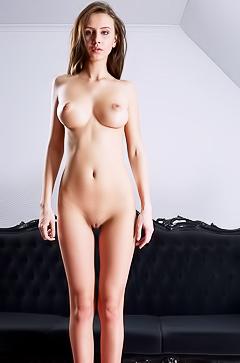Jessica Albanka - naked on the sofa
