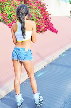 Topless roller girl Trisha