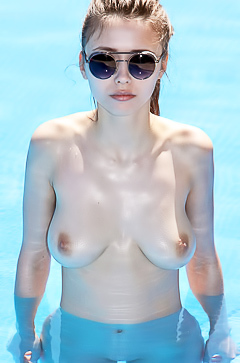 Naked slut only in sunglasses