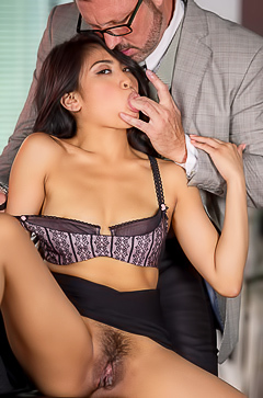 Sex at office with hairy Ember Snow