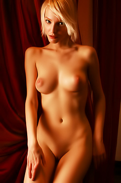 Kira W - nude blonde in red
