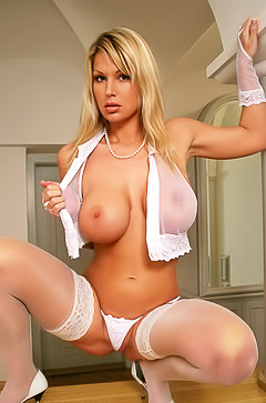 Titted Clara in sexy white lingerie