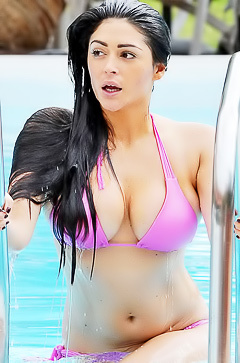 Casey Batchelor in sexy pink bikini