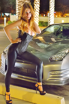 Gorgeous Bethany stripping in sport car