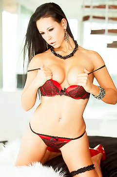 Laly Vallade in sexy red lingerie