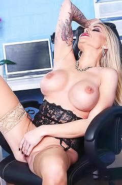 Office masturbation with Kayla Green