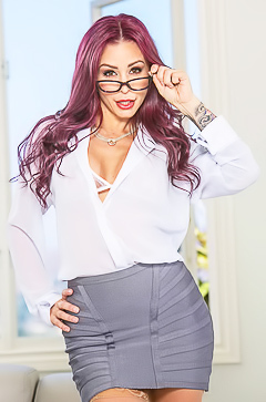 Sexy office babe with tattoos