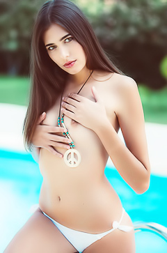 Playboy babe Katrine Pirs by the pool