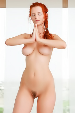 Sexy Redhead Doing Hot Naked Yoga