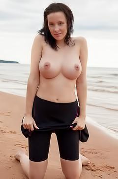 Agatha gets naked on the beach