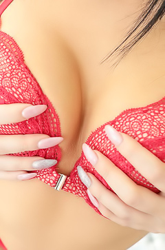 Asian Babe Rina Ellis In Red Lingerie