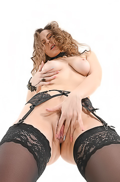Sofia Curly In Black Lingerie Spreads Her Legs